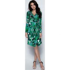 Sukienki: Sukienka Wizytowa Kopertowa w Tropikalne Zielone Liście
