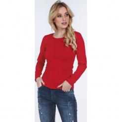 Czerwona bluzka z długim rękawem na co dzień 4037. Czerwone bluzki asymetryczne Fasardi, l, z długim rękawem. Za 39,00 zł.