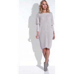 Beżowa Sukienka Sweter z Rękawem Kimono. Brązowe sukienki dzianinowe marki Molly.pl, na co dzień, uniwersalny, w jednolite wzory, z dekoltem w łódkę, z długim rękawem, dopasowane. Za 120,00 zł.