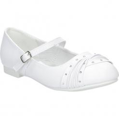 Białe buty komunijne z cyrkoniami American KOM-6/2018. Białe buciki niemowlęce American. Za 69,99 zł.