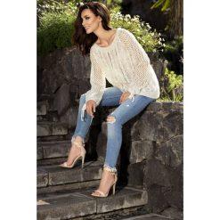 Swetry klasyczne damskie: Modny ażurowy sweter beżowy