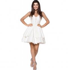 Imprezowa Zwiewna Sukienka z Koronką - Kremowa. Białe sukienki balowe Molly.pl, na imprezę, l, w jednolite wzory, z koronki, z dekoltem na plecach, na ramiączkach. Za 289,90 zł.