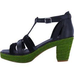 """Rzymianki damskie: Skórzane sandały """"Coconut"""" w kolorze granatowo-zielonym"""