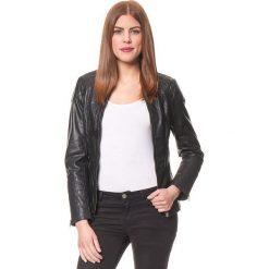 Bomberki damskie: Skórzana kurtka w kolorze czarnym