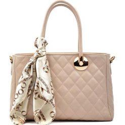 Torebki klasyczne damskie: Skórzana torebka w kolorze beżowym – (S)33 x (W)23 x (G)12 cm