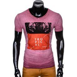 T-SHIRT MĘSKI Z NADRUKIEM S889 - BORDOWY. Czerwone t-shirty męskie z nadrukiem marki Ombre Clothing, m. Za 39,00 zł.