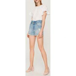 Szorty damskie: Jeansowe szorty z wysokim stanem – Niebieski