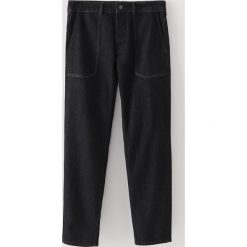 Jeansy męskie regular: Czarne jeansy redesign - Czarny
