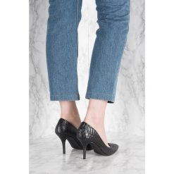 Buty ślubne damskie: NA-KD Shoes Zamszowe czółenka Snake - Black