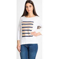 Bluzki damskie: Biała bluzka w paski QUIOSQUE