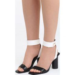 Czarno-Białe Sandały Stay Young. Białe sandały damskie na słupku Born2be, z materiału, na wysokim obcasie. Za 79,99 zł.