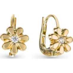 Kolczyki damskie: Piękne Kolczyki Złote – złoto żółte 585, Cyrkonia