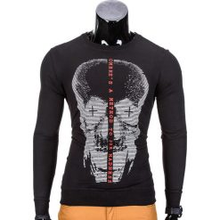 Bluzy męskie: BLUZA MĘSKA BEZ KAPTURA Z NADRUKIEM B674 – CZARNA