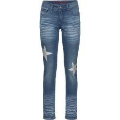 """Dżinsy SKINNY z nadrukiem gwiazd bonprix niebieski """"stone"""". Niebieskie jeansy damskie bonprix, z nadrukiem, z jeansu. Za 59,99 zł."""