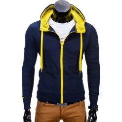 BLUZA MĘSKA ROZPINANA Z KAPTUREM B485 - GRANATOWA/ŻÓŁTA. Żółte bejsbolówki męskie Ombre Clothing, m, z bawełny, z kapturem. Za 39,00 zł.