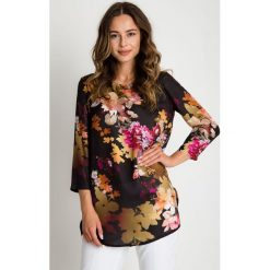 Bluzki asymetryczne: Wzorzysta bluzka w kwiaty z rękawem 3/4 BIALCON