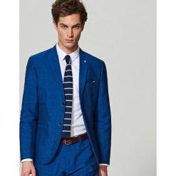 Odzież męska: Marynarka garniturowa z lnem slim fit - Niebieski