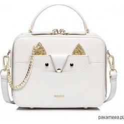 Torebki i plecaki damskie: NUCELLE Biały kuferek z łańcuszkiem