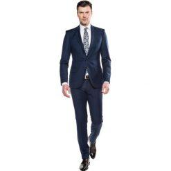 Garnitur blavet 311 granatowy slim fit. Niebieskie garnitury Recman, w kratkę, z bawełny. Za 399,99 zł.