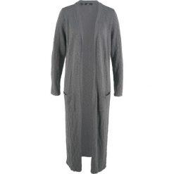Długi płaszcz dzianinowy, długi rękaw bonprix dymny szary. Szare płaszcze damskie bonprix, z dzianiny. Za 119,99 zł.