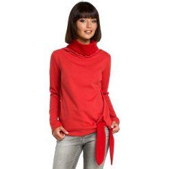 Czerwona Elegancka Bluza z Wysokim Kołnierzem. Czerwone bluzy rozpinane damskie Molly.pl, l, z długim rękawem, długie. Za 124,90 zł.