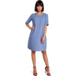 Niebieska Casualowa Sukienka Bombka przed Kolano. Niebieskie sukienki letnie marki Molly.pl, do pracy, l, biznesowe, z krótkim rękawem, mini, bombki. Za 124,90 zł.