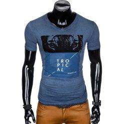 T-SHIRT MĘSKI Z NADRUKIEM S889 - GRANATOWY. Niebieskie t-shirty męskie z nadrukiem marki Ombre Clothing, m. Za 39,00 zł.