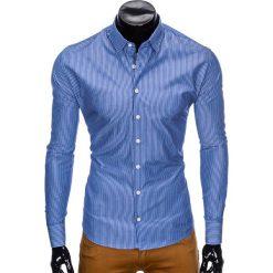 KOSZULA MĘSKA ELEGANCKA Z DŁUGIM RĘKAWEM K428 - JASNOGRANATOWA. Brązowe koszule męskie marki Ombre Clothing, m, z aplikacjami, z kontrastowym kołnierzykiem, z długim rękawem. Za 49,00 zł.
