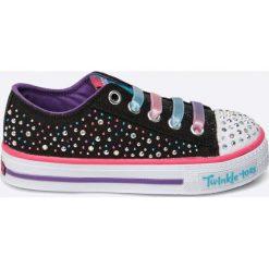Skechers - Tenisówki dziecięce twinkle toes. Szare buty sportowe dziewczęce marki Skechers, z materiału, na sznurówki. W wyprzedaży za 159,90 zł.