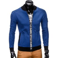 BLUZA MĘSKA ROZPINANA BEZ KAPTURA B739 - GRANATOWA. Niebieskie bluzy męskie rozpinane marki Ombre Clothing, m, z bawełny, bez kaptura. Za 69,00 zł.