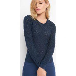 Sweter z metaliczną nitką. Czarne swetry klasyczne damskie marki Orsay, xs, z bawełny, z dekoltem na plecach. Za 89,99 zł.