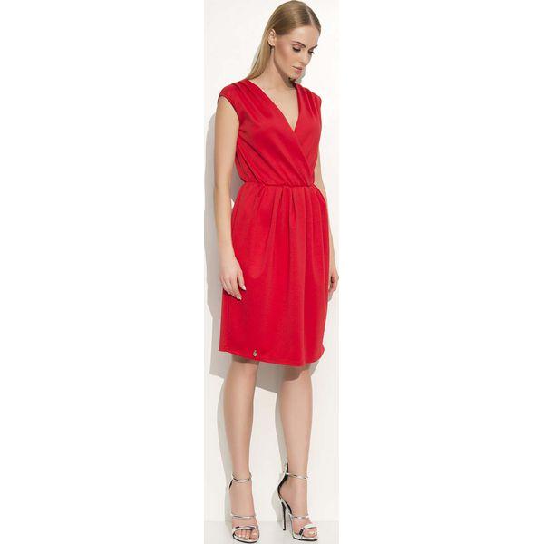 f2bc863afcedc7 Czerwona Sukienka z Kopertowym Dekoltem - Czerwone sukienki damskie ...