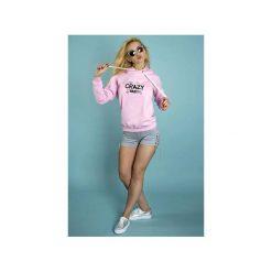 Bluza Crazy Baby róż!. Czarne bluzy z nadrukiem damskie marki ŁAP NAS, l, z bawełny. Za 169,00 zł.
