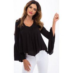 Bluzki asymetryczne: Czarna bluzka z wyciętymi ramionami 00360