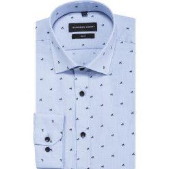 Koszula SIMONE slim KDWS000399. Szare koszule męskie na spinki marki S.Oliver, l, z bawełny, z włoskim kołnierzykiem, z długim rękawem. Za 169,00 zł.