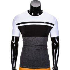 T-SHIRT MĘSKI BEZ NADRUKU S844 - CZARNY/GRAFITOWY. Czarne t-shirty męskie z nadrukiem Ombre Clothing, m. Za 29,00 zł.