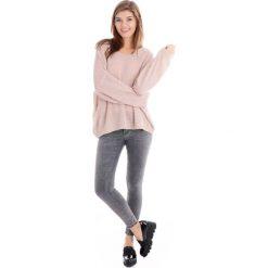 Spodnie - 42-6092 GRIGI. Szare rurki damskie Unisono, z aplikacjami, z bawełny, z standardowym stanem. Za 89,00 zł.