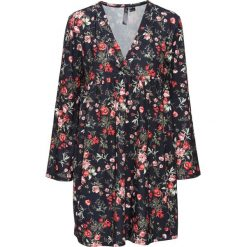 Sukienki hiszpanki: Sukienka shirtowa z głębokim dekoltem bonprix czarno-czerwony w kwiaty