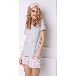 Damska piżama Diamonds krótka. Szare piżamy damskie marki Astratex, z nadrukiem, z bawełny, z krótkim rękawem. Za 76,49 zł.