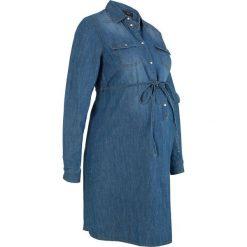 """Sukienka bawełniana dla ciężarnych i karmiących piersią bonprix niebieski """"stone"""". Niebieskie sukienki ciążowe marki bonprix, w paski, z bawełny, z dekoltem w serek, moda ciążowa, plisowane. Za 109,99 zł."""