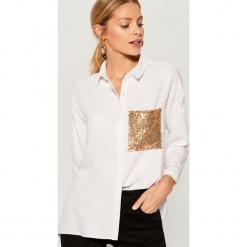 Koszula z ozdobną kieszonką - Biały. Białe koszule damskie Mohito. Za 119,99 zł.