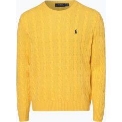 Polo Ralph Lauren - Męski sweter z wełny merino z dodatkiem kaszmiru, żółty. Żółte swetry klasyczne męskie Polo Ralph Lauren, m, z kaszmiru, polo. Za 839,95 zł.