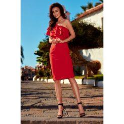 Olśniewająca sukienka na jedno ramię czerwony ALAINA. Czarne sukienki balowe marki Molly.pl, na wesele, l, z gorsetem, midi, baskinki. Za 159,90 zł.