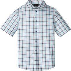 Koszula w kratę bonprix biały w kratę. Białe bluzki dziewczęce z krótkim rękawem marki bonprix, z klasycznym kołnierzykiem. Za 27,99 zł.