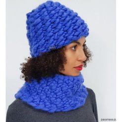 Komplet czapka komin z wełny merynosów, merino. Niebieskie czapki zimowe damskie marki WED'ZE, z materiału. Za 399,00 zł.