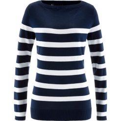 Sweter z dekoltem w łódkę, długi rękaw bonprix ciemnoniebiesko-biały w paski. Niebieskie swetry klasyczne damskie marki bonprix, z dzianiny, z dekoltem w łódkę. Za 74,99 zł.