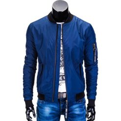 KURTKA MĘSKA PRZEJŚCIOWA BOMBERKA C330 - GRANATOWA. Niebieskie kurtki męskie bomber marki Ombre Clothing, m, z nylonu. Za 89,00 zł.