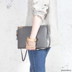 Kopertówki damskie: Nodo Bag szara torebka / kopertówka z paskiem