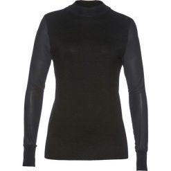 Sweter z szyfonowymi rękawami bonprix czarny. Czarne swetry klasyczne damskie bonprix, z szyfonu, ze stójką. Za 109,99 zł.