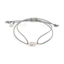 Bransoletki damskie: Bransoletka w kolorze szarym ze srebrną zawieszką